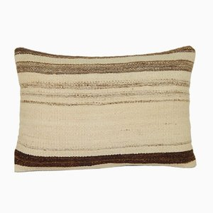 Natural Color Kilim Pillow Cover with African Mudcloth Pattern from Vintage Pillow Store Contemporary