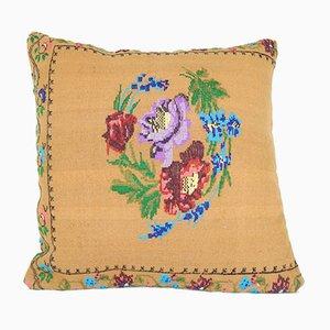 Kleiner bestickter Aubusson Kelim Kissenbezug von Vintage Pillow Store Contemporary