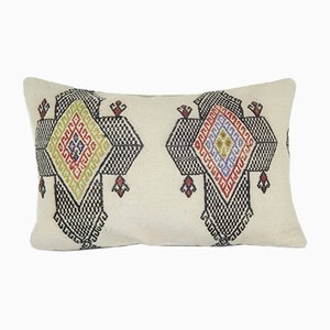 Turkish Organic Wool Lumbar Kilim Pillow Cover from Vintage Pillow Store Contemporary