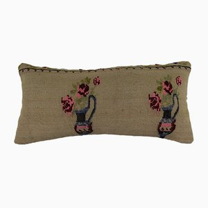 Handwoven Floral Pattern Lumbar Kilim Pillow Cover from Vintage Pillow Store Contemporary