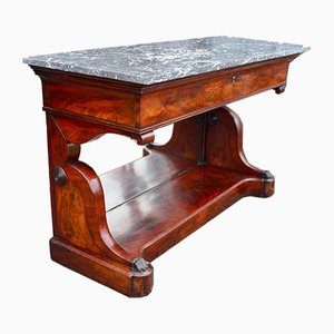 Antique Regency English Mahogany Console Table with Marble Top