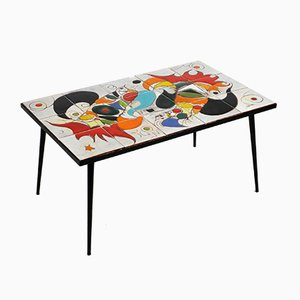 Mid-Century Italian Iron Table with Tiled Top and Abstract Motif, 1950s