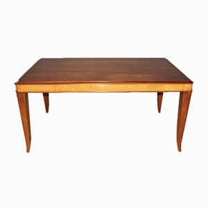 Vintage Art Deco Maple and Mahogany Dining Table, 1940s