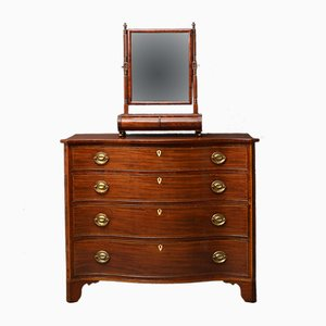 Antique Regency Mahogany & Rosewood Serpentine Chest of Drawers