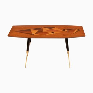 Inlaid Rosewood Marquetry Coffee Table with Brass Legs, 1950s
