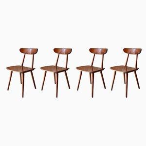 Chaises de Salle à Manger Style Bistrot Mid-Century de Hiller, 1950s, Set de 4