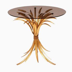 Mesa dorada con superficie de vidrio ahumado, años 70