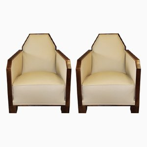 Vintage Art Deco Leather and Walnut Armchairs, Set of 2