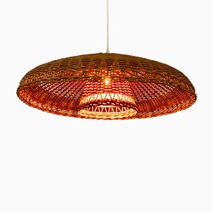Italian Braided Rattan Pendant Lamp with Reflector, 1960s