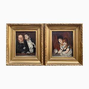 Peintures de Spectateurs au Théâtre par Hippolyte Michaud, 1860s, Set de 2