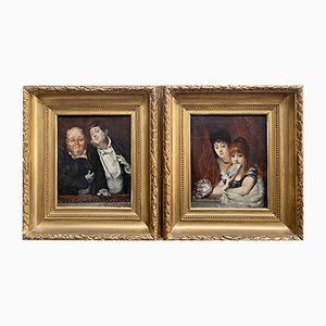 Theater Audience Paintings by Hippolyte Michaud, 1860s, Set of 2