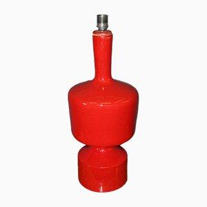 Base per lampada vintage in ceramica rossa, anni '70
