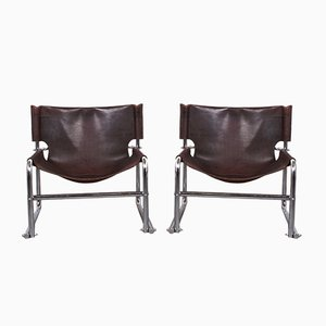 Vintage Model T1 Sling Leather Lounge Chairs by Rodney Kinsman for OMK, 1960s, Set of 2