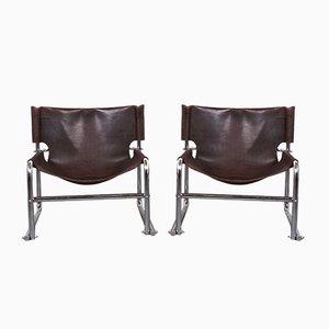 Vintage Modell T1 Sling Sessel mit Lederbespannung von Rodney Kinsman für OMK, 1960er, 2er Set
