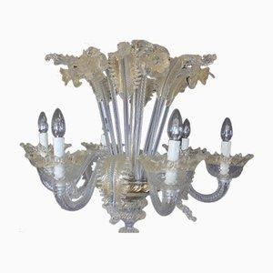 Lámpara de araña Mid-Century de cristal de Murano blanco y dorado, años 50