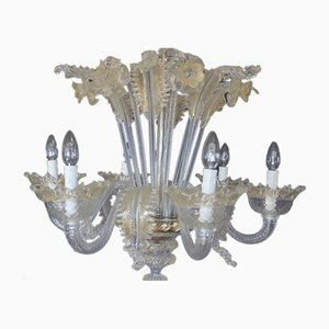 Mid-Century White and Gold Murano Chandelier, 1950s