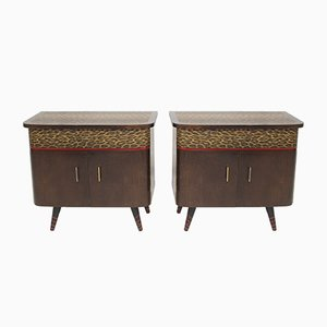 Leopard Print Nightstands, 1950s, Set of 2