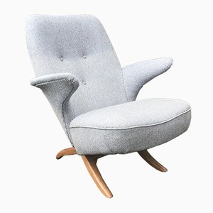 Blue-Gray Penguin Ploeg Wool and Oak Armchair by Theo Ruth for Artifort, 1950s