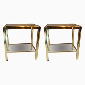 Vintage Metal and Glass Side Tables, 1970s, Set of 2