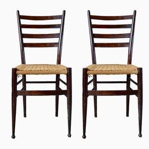 Italienische Mid-Century Esszimmerstühle mit Gestell aus Buche & geflochtenem Sitz, 1950er, 2er Set