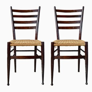 Mid-Century Italian Beech Wood and Hemp Rope Dining Chairs, 1950s, Set of 2