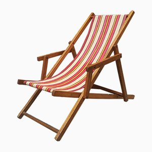 Wood & Cloth Deck Chair, 1950s