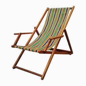 Liegestuhl mit Bespannung in Grün, Gelb, Blau & Orange, 1950er