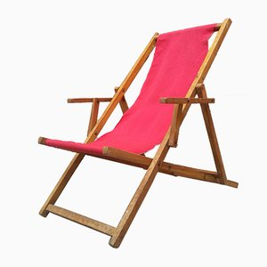 Italian Wood & Fabric Deck Chair, 1950s