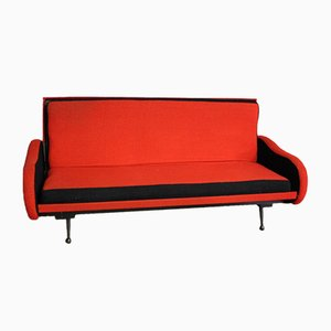 Mid-Century Red Fabric Sofa, 1960s