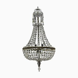 Antique Edwardian Cut Glass Tent & Waterfall Chandelier