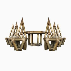 Juego de sillas y mesa esculturales de bambú de Franco Albini, años 60