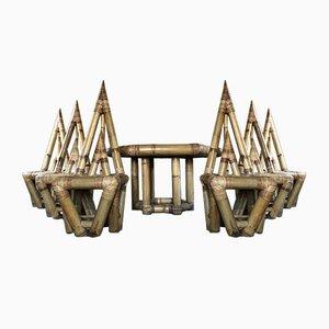 Skulpturales Set aus Stühlen & Tisch aus Bambus von Franco Albini, 1960er