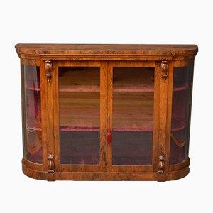 Antique Victorian Figured Walnut Display Cabinet