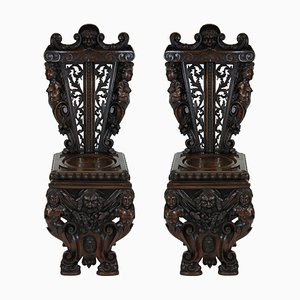 Antique Italian Wood and Walnut Side Chairs, Set of 2