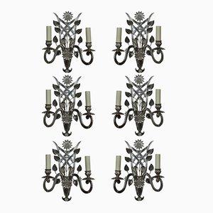 Französische Wandleuchten aus geschliffenem Glas & versilbertem Metall, 1960er, 6er Set