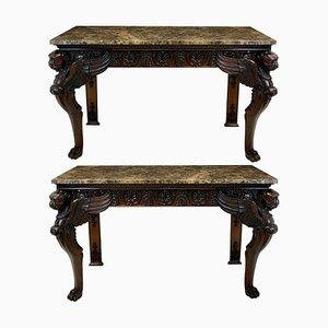 Consolle in legno e marmo, anni '20, set di 2