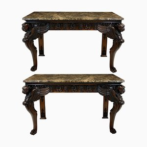 Wood and Marble Console Tables, 1920s, Set of 2