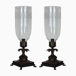 Lampade da tavolo in stile Regency in bronzo e vetro, anni '30, set di 2