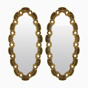 Mid-Century Italian Oval Gilt Wood Mirrors, 1950s, Set of 2