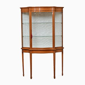 Antique Victorian Satinwood Serpentine Display Cabinet