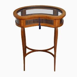 Table de Bijouterie en Haricot Édouardienne Antique en Acajou