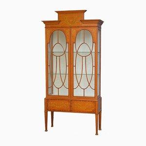 Antique Edwardian Satinwood Display Cabinet