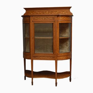 Low Antique Edwardian Inlaid Display Cabinet