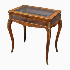 Table Vitrine Antique Victorienne en Palissandre