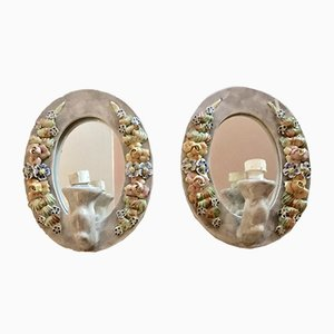 Italian Ceramic Mirrored Flower Sconces, 1940s, Set of 2