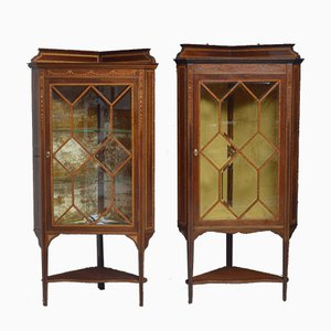 Antique Edwardian Mahogany Inlaid Corner Display Cabinets, Set of 2