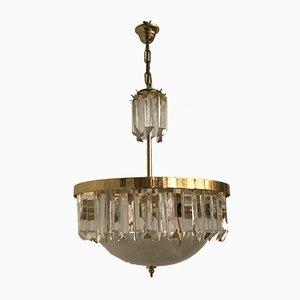 Lámpara de araña italiana Mid-Century con primas colgantes de vidrio de Paolo Venini, años 70