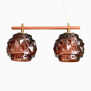 Swedish Dual Ceiling Lamp by Carl Fagerlund for Orrefors, 1960s