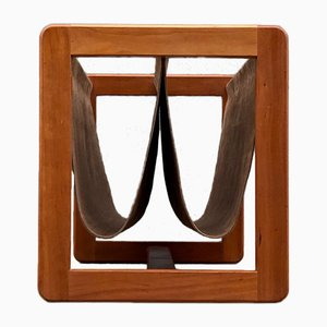 Dual Teak & Suede Leather Magazine Rack by Aksel Kjersgaard, 1960s