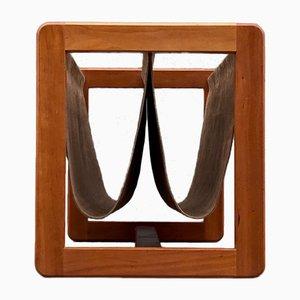Revistero dual de teca y cuero de Aksel Kjersgaard, años 60